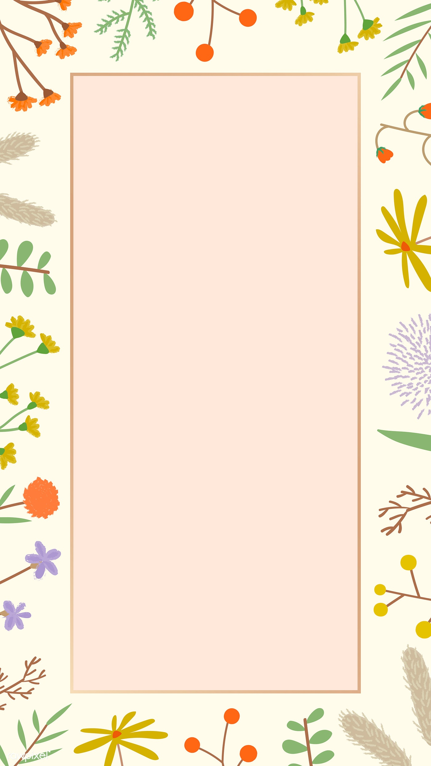Cute Floral Phone Background Royalty Free Vector 1222893