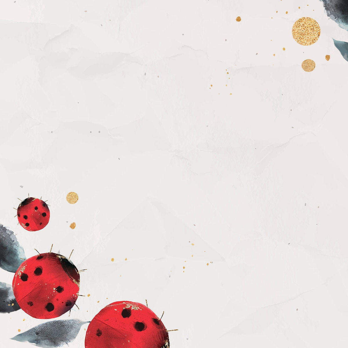 Ladybug and leaves watercolor background vector