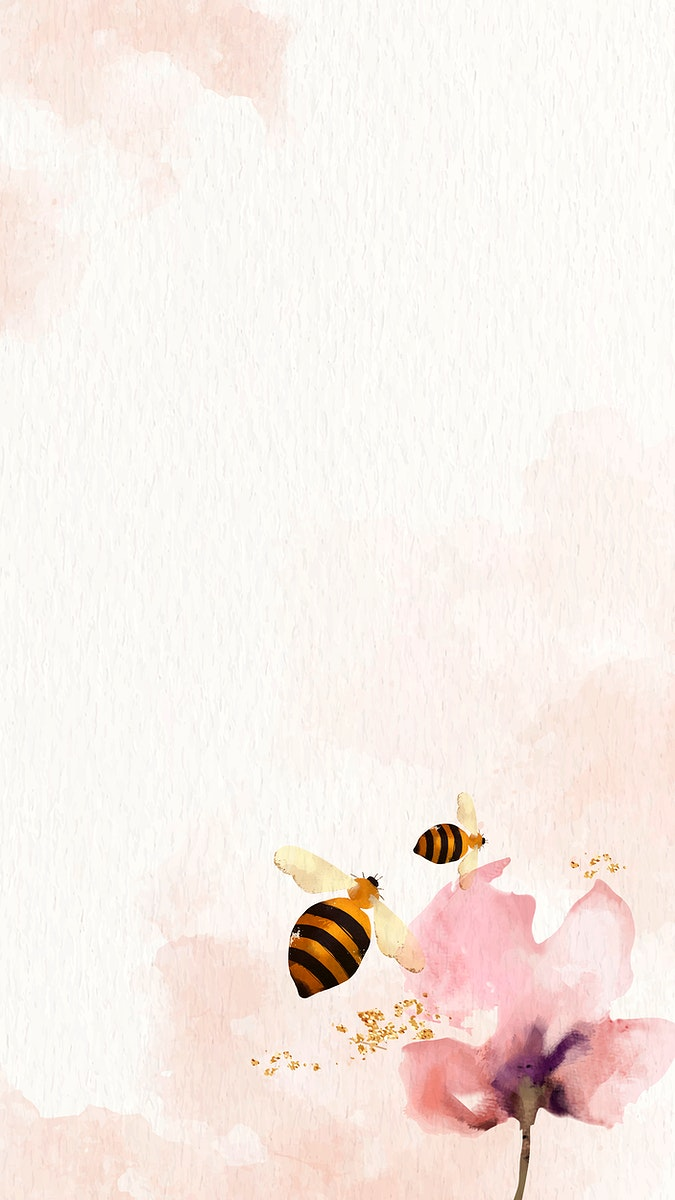Honey Bees and flower watercolor background mobile phone wallpaper vector