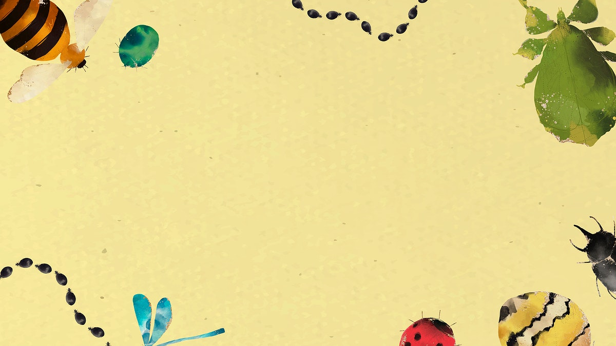 Insects watercolor border design on yellow background vector