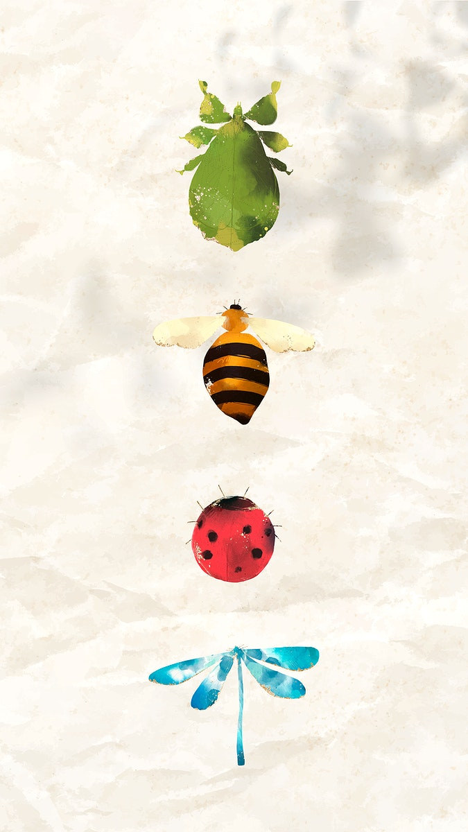 Cute watercolor insects collection mobile phone wallpaper vector