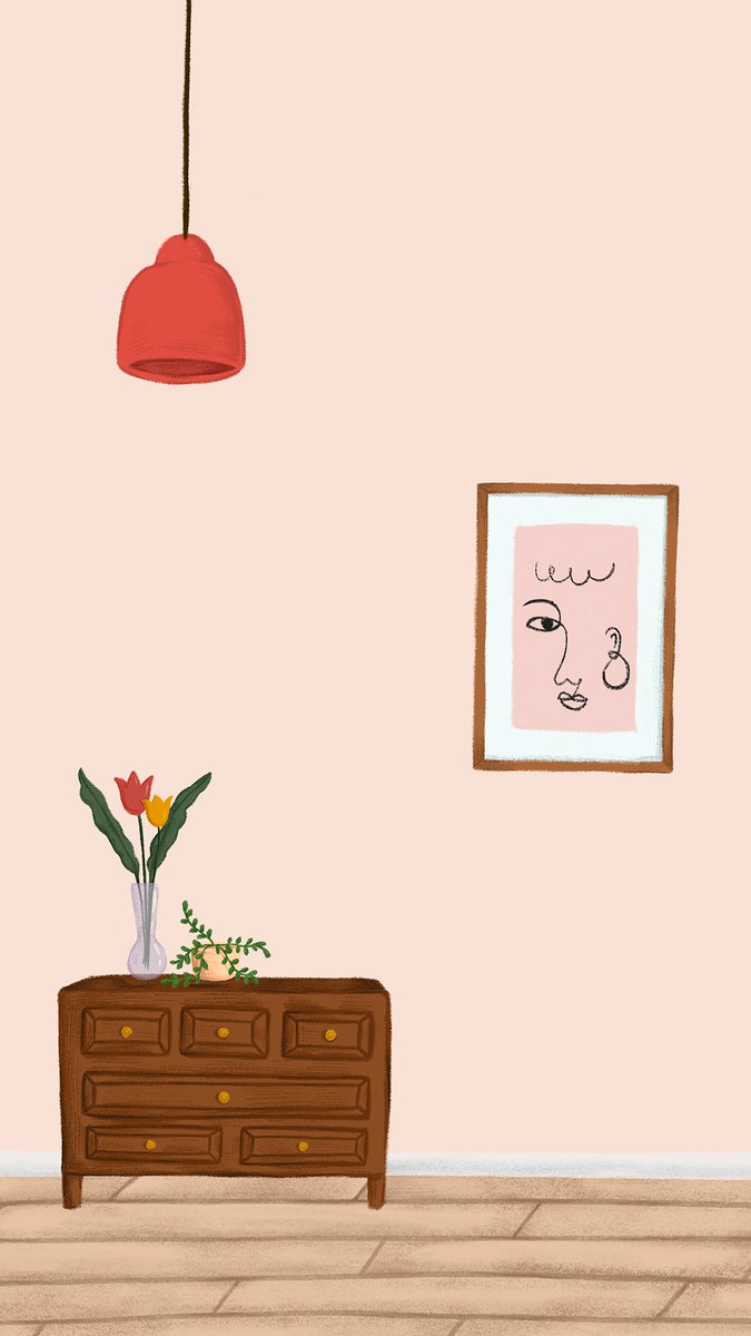 Wooden cabinet in a peach pink room sketch style mobile phone wallpaper vector