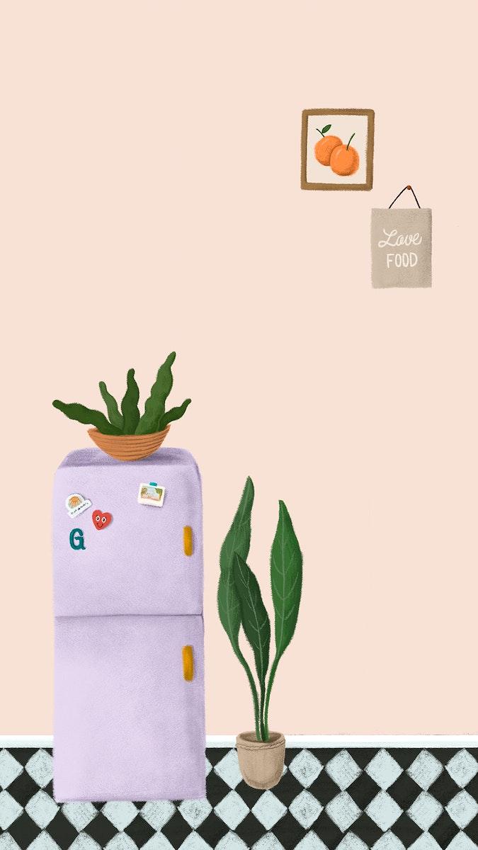 Purple fridge in a peach pink kitchen sketch style mobile phone wallpaper illustration