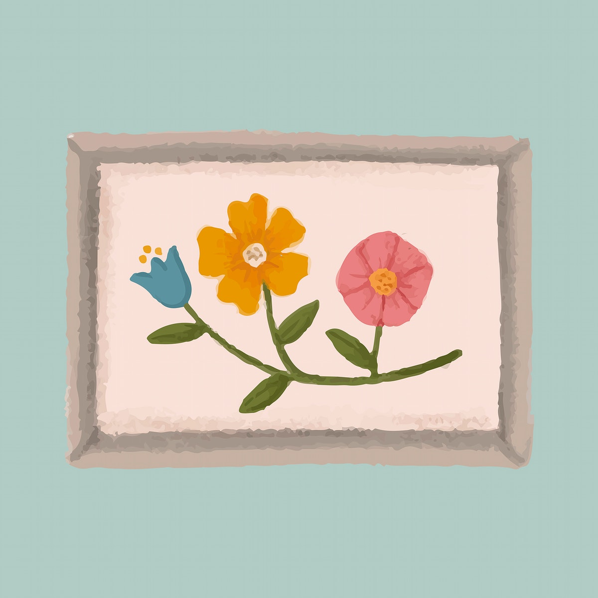 Picture frame of flowers on a blue wall sketch style vector