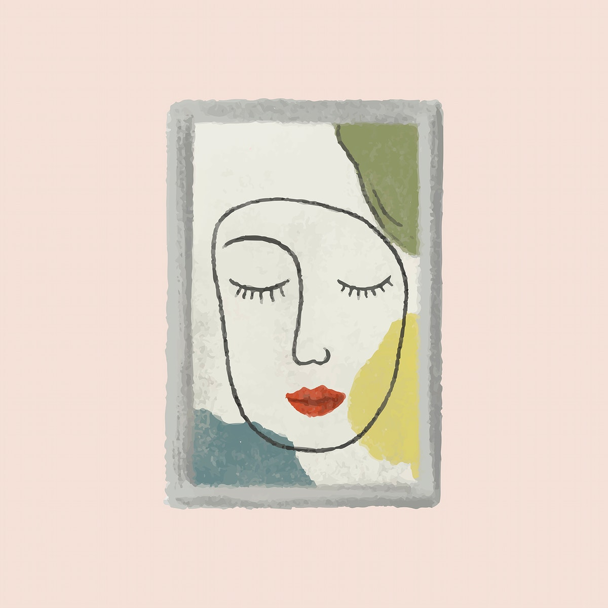 Picture frame of a girl on a peach pink wall sketch style vector