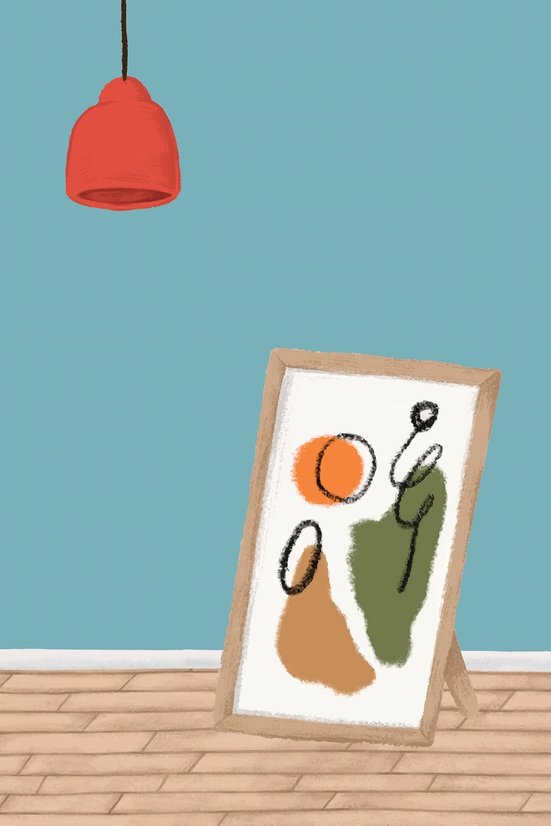 Picture frame on a wooden floor sketch style vector