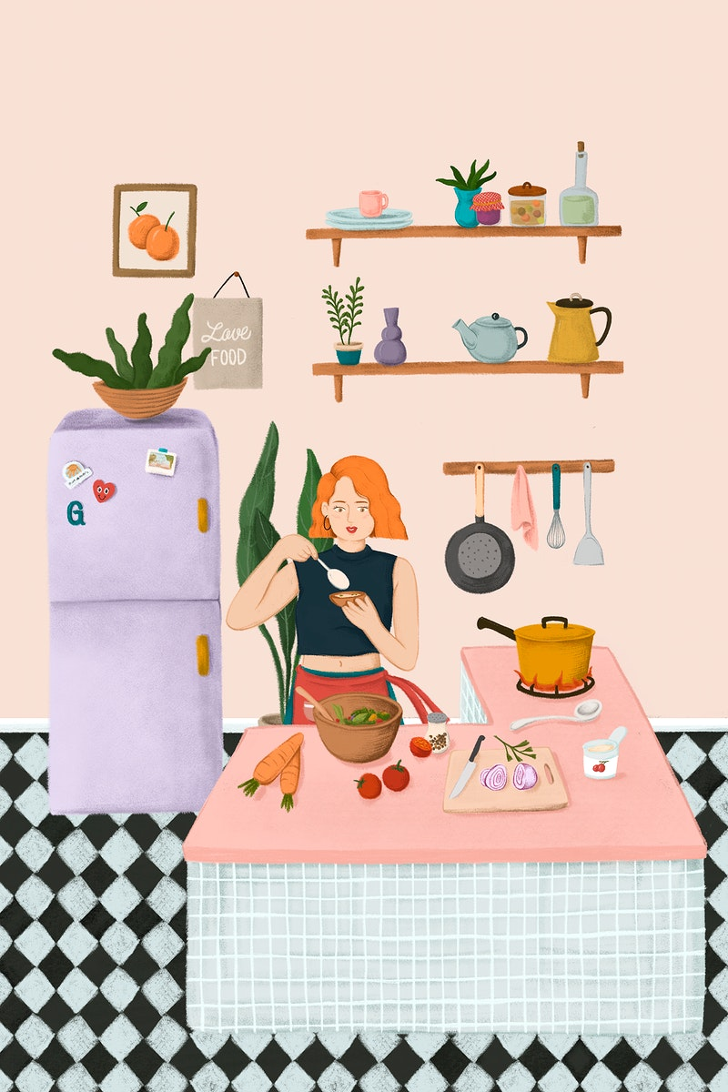Girl cooking in a kitchen sketch style illustration