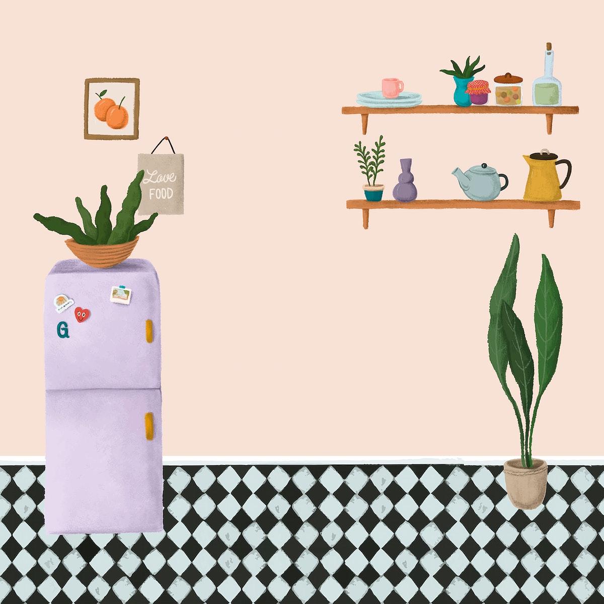 Purple fridge in a peach pink kitchen sketch style vector
