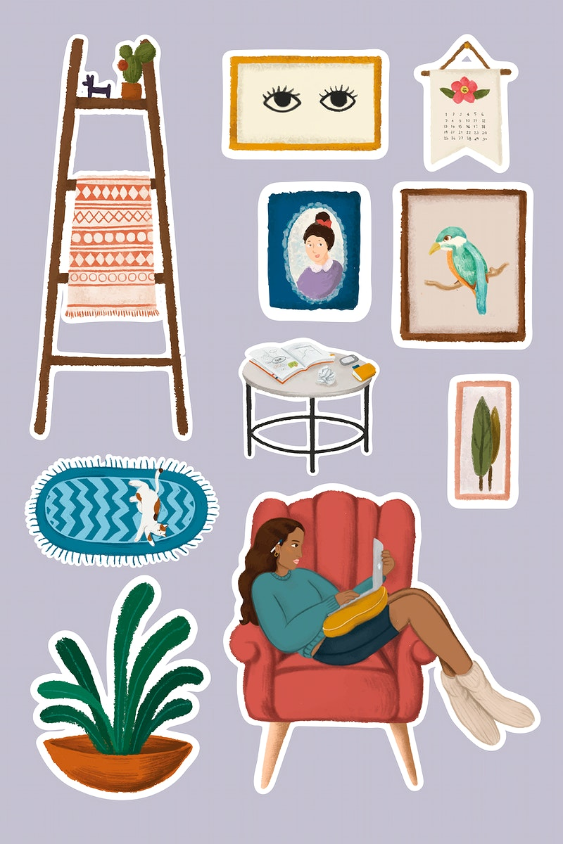 Daily routine life of a girl using laptop and home stuffs sticker vector