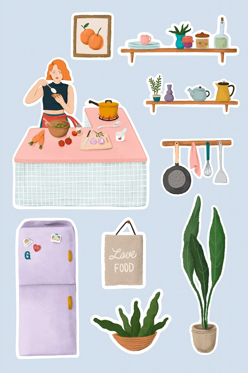 Daily routine life of a girl cooking in a kitchen and home stuffs sticker vector