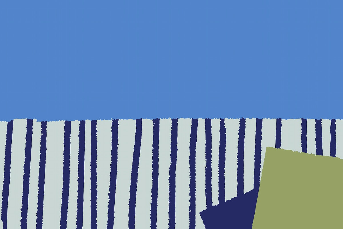 Hand-drawn stripes patterned on blue background vector
