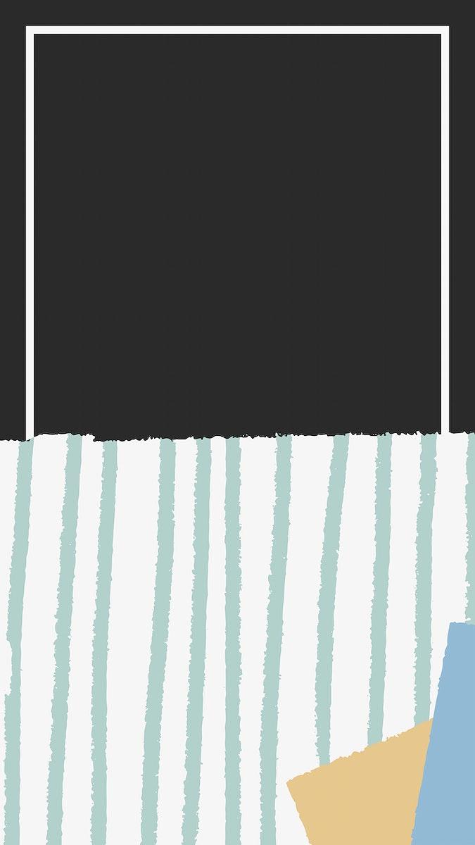 White frame on hand-drawn stripes patterned black mobile phone wallpaper vector
