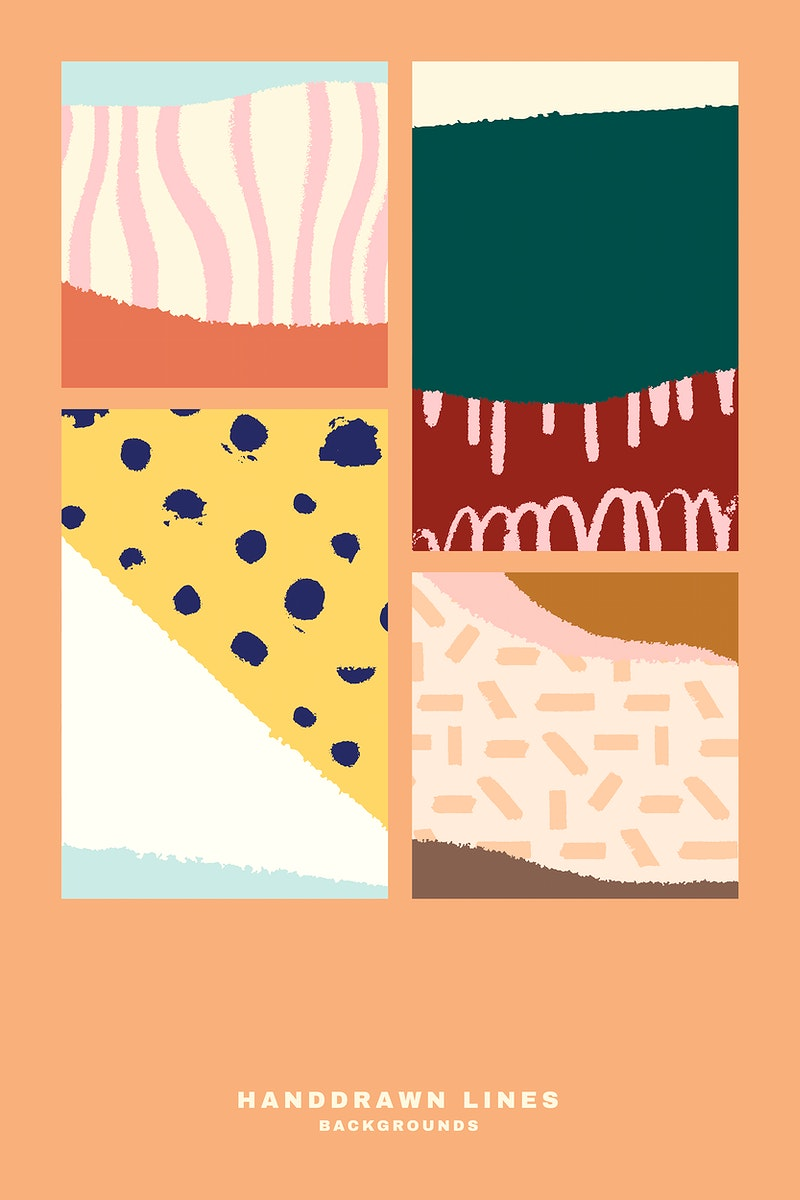 Colorful hand drawn abstract cards vector set
