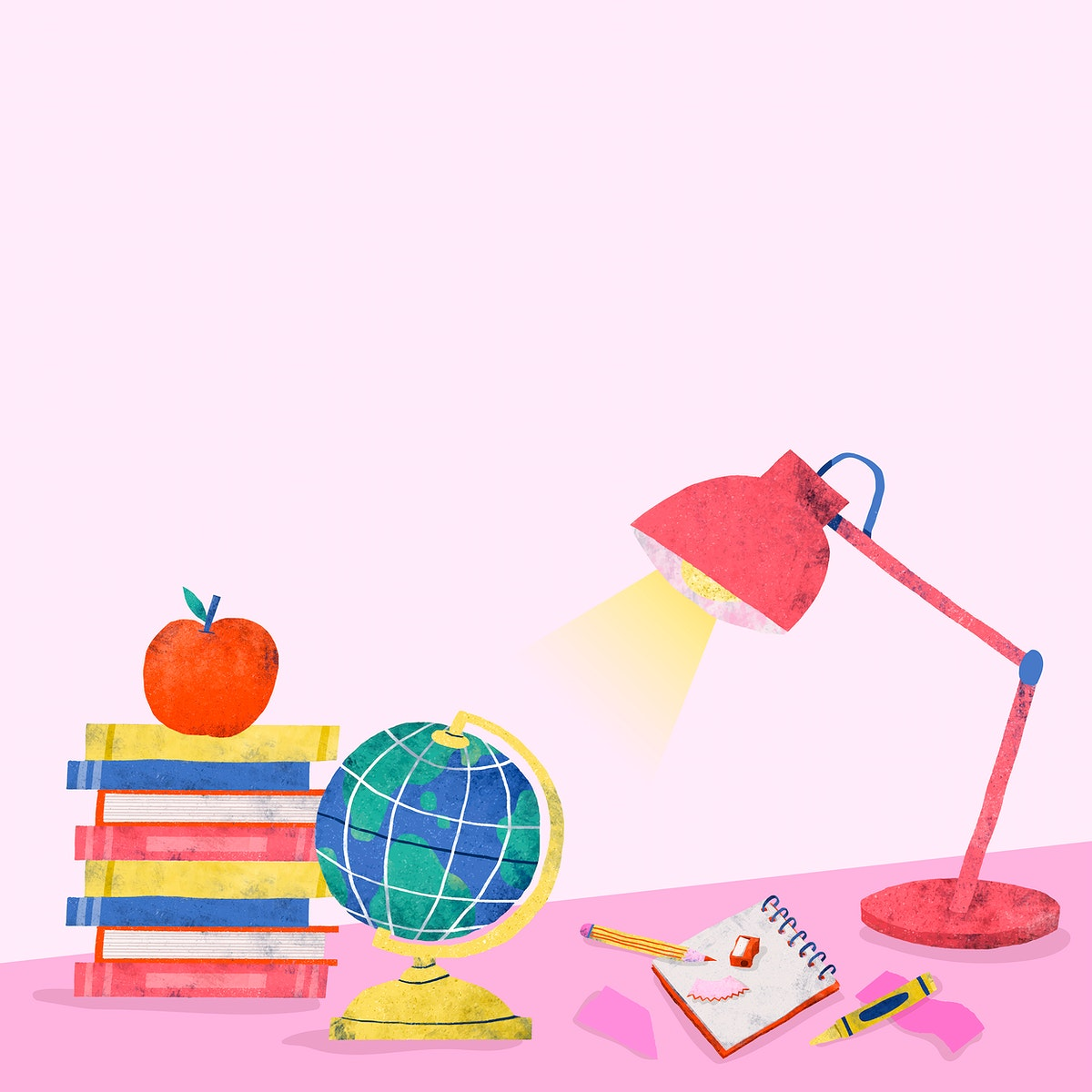 Pink back to school study table vector