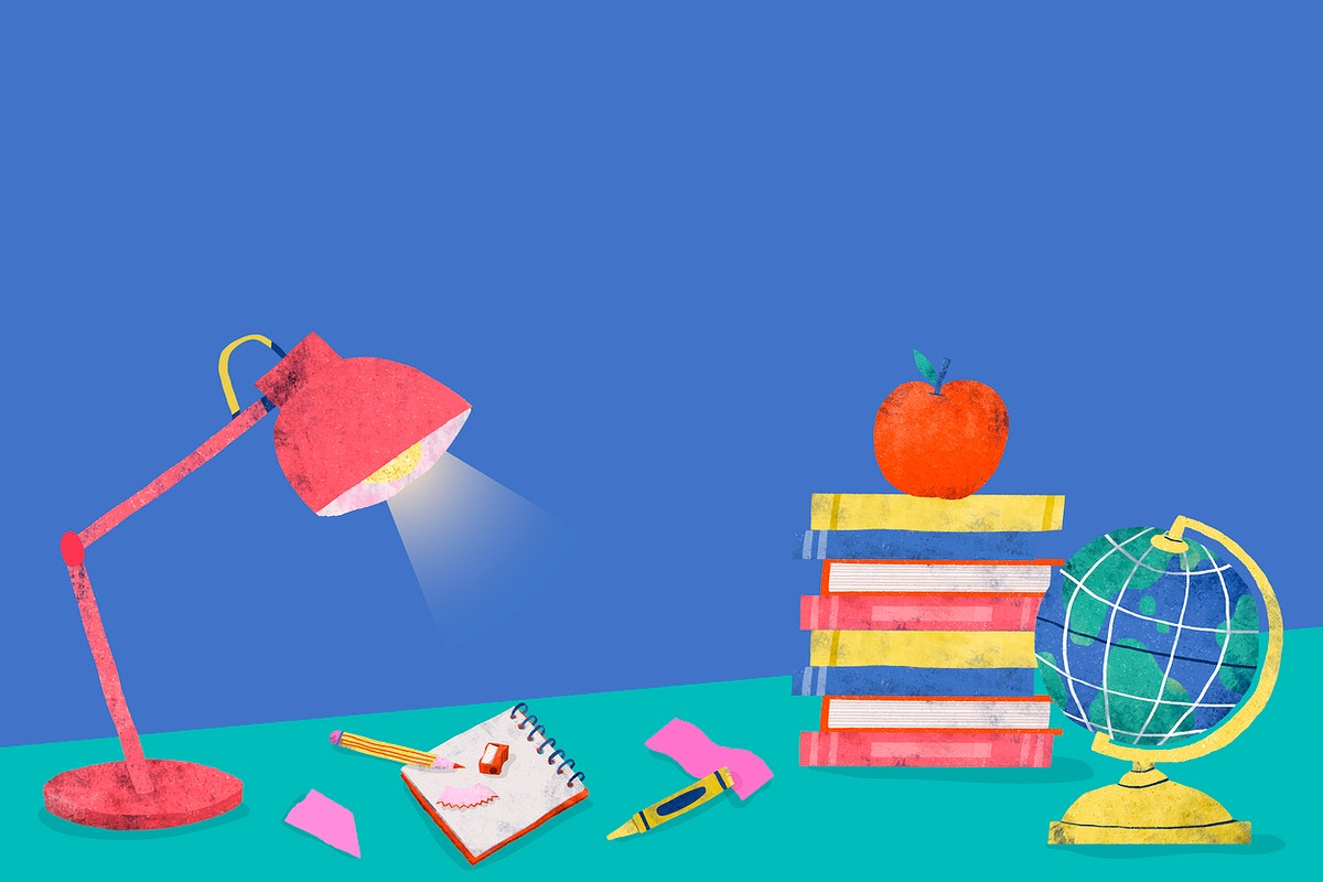 Blue back to school study table vector