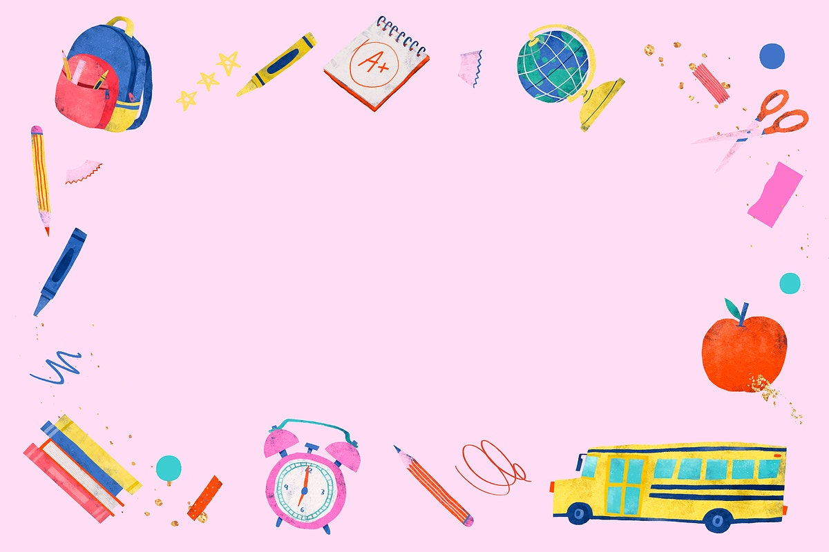 Blank pink back to school frame vector