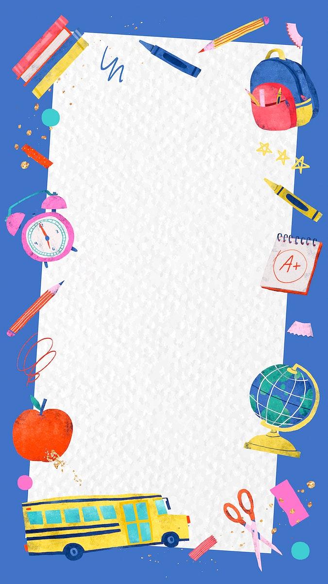 Blue back to school frame mobile phone wallpaper vector