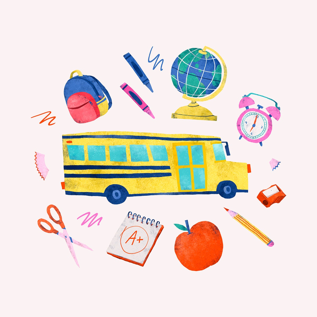Back to school stationery vector set