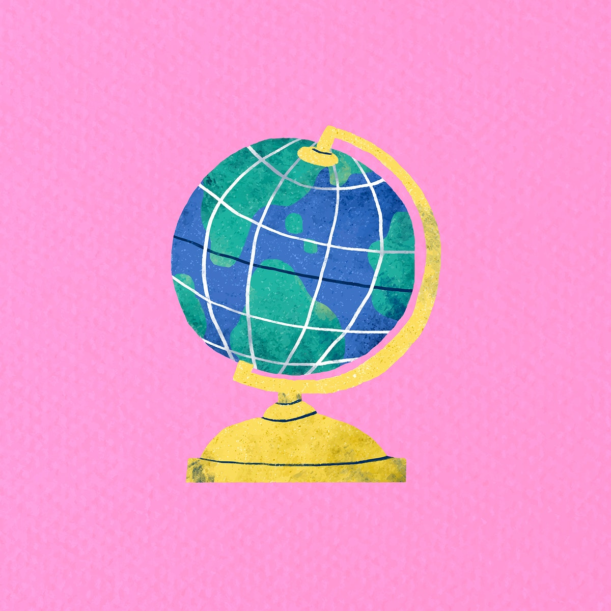 Globe doodle on a pink background vector