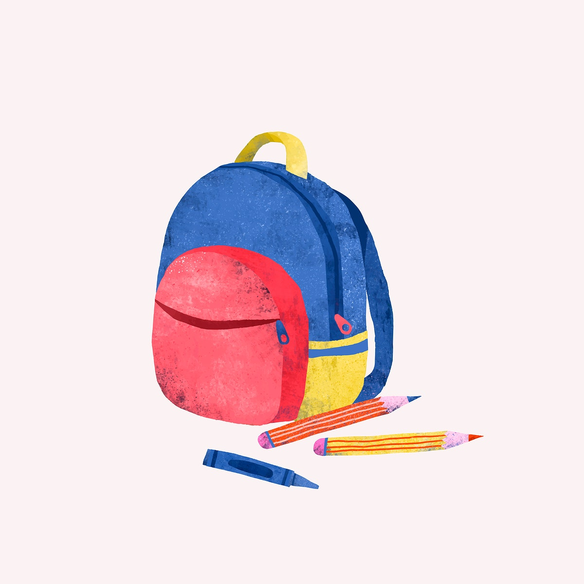 Colorful school backpack doodle vector