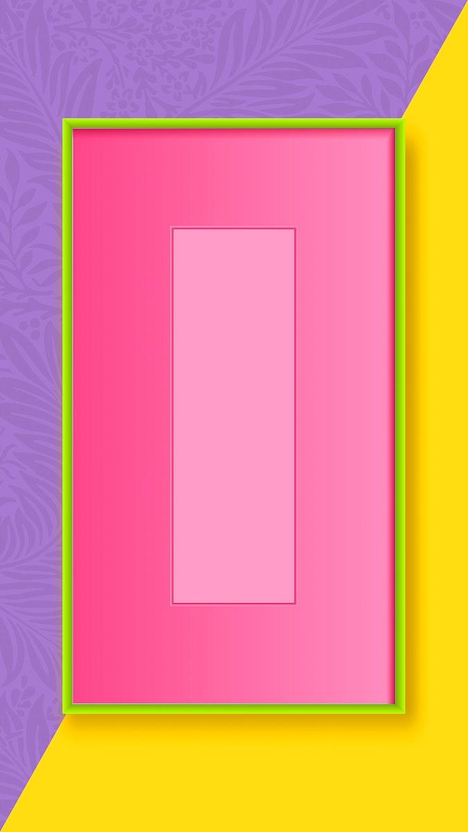 Green rectangle frame mobile phone wallpaper vector