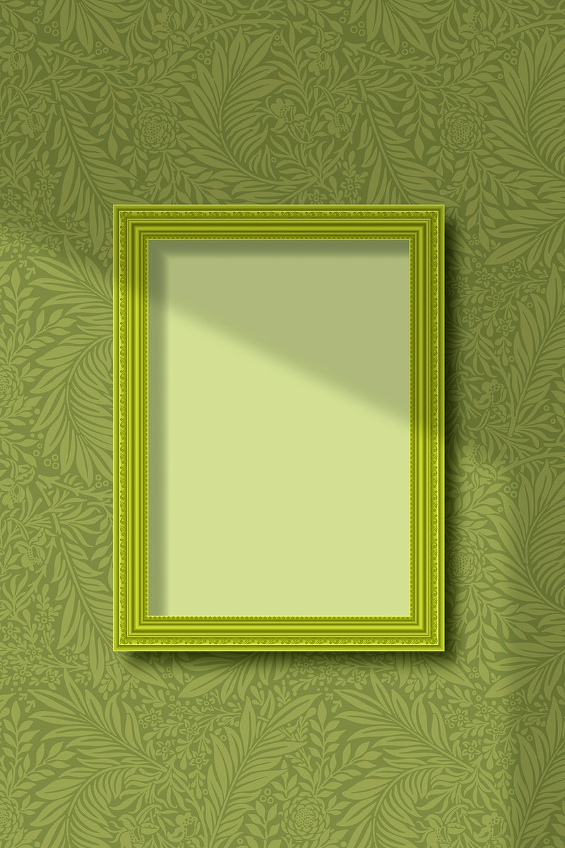 Green frame on a leafy wall vector