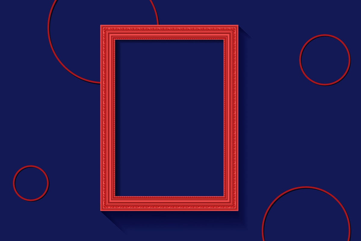 Red frame on a blue wall vector