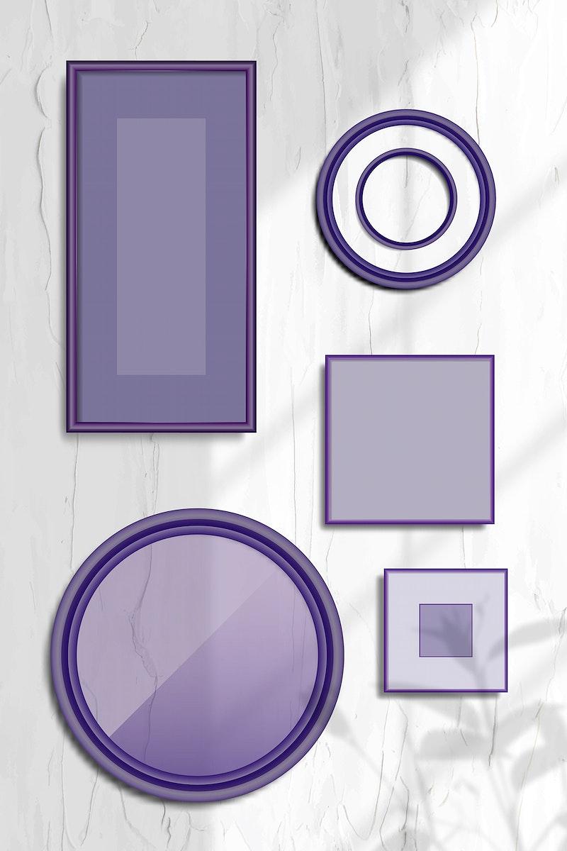 Purple frame mobile phone wallpaper vector set