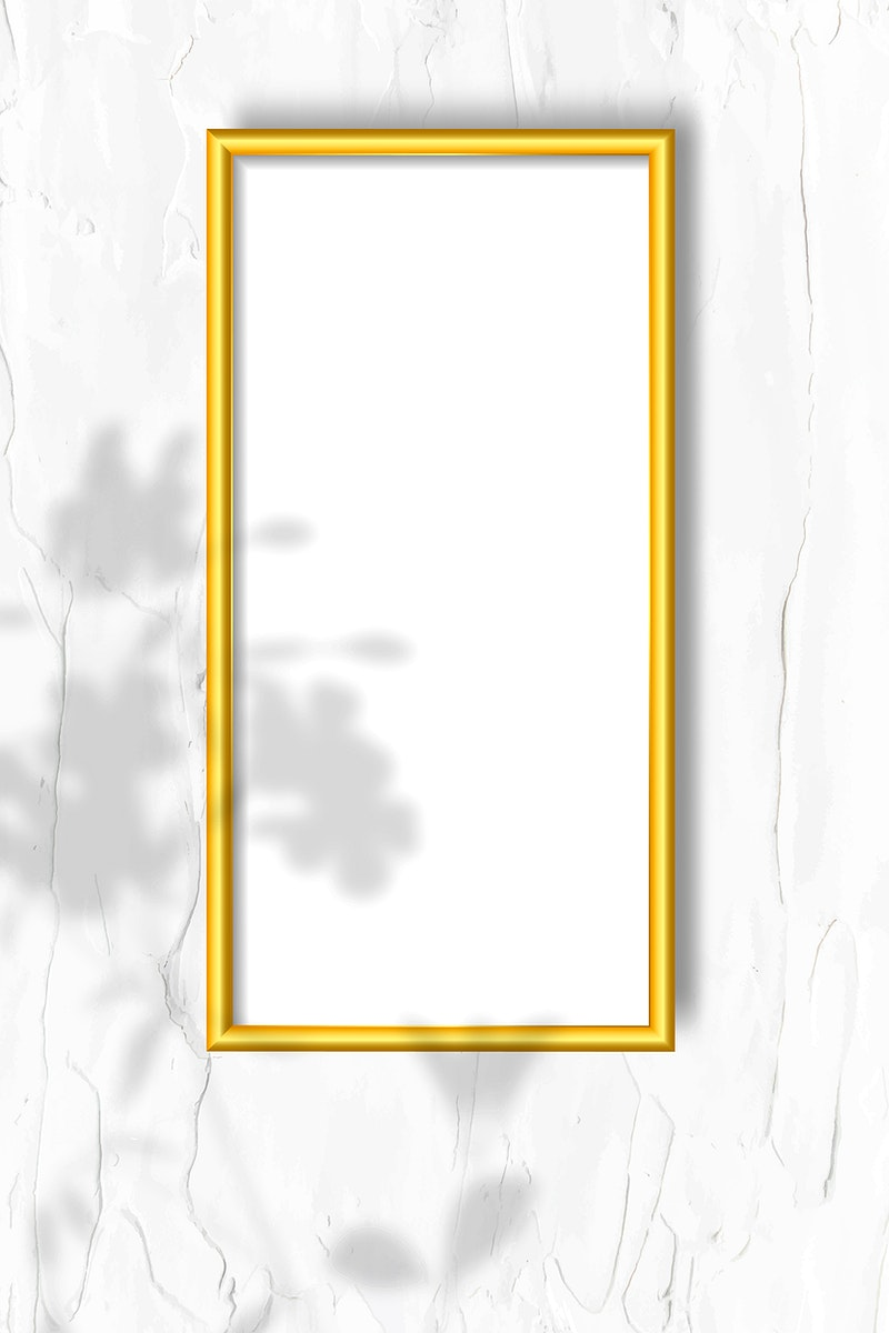 Golden frame on a wall vector