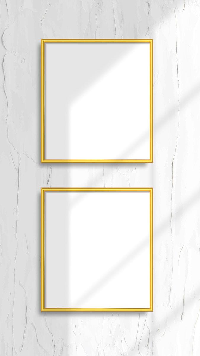 Golden frame on a wall mobile phone wallpaper vector