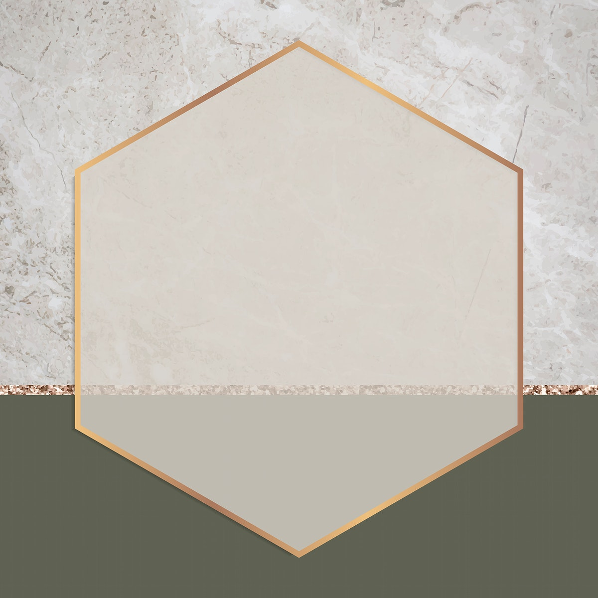 Hexagon frame on two tones background vector
