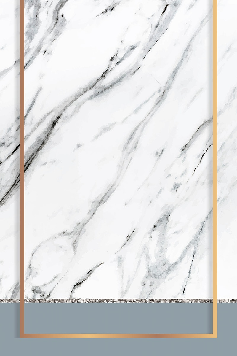 Golden frame on white marble textured background vector