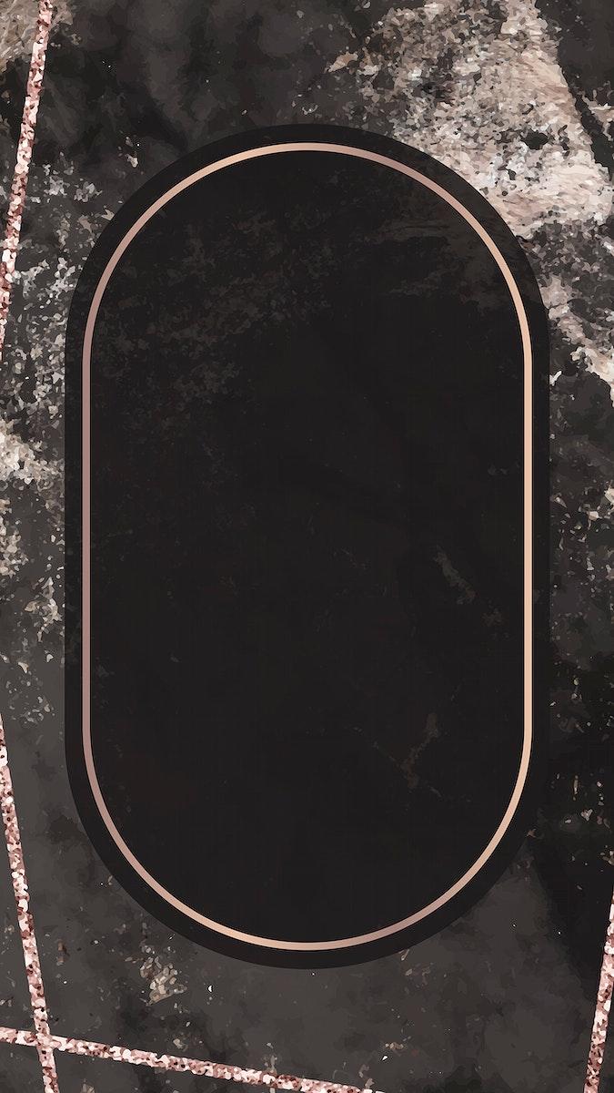 Oval frame on black marbled background vector