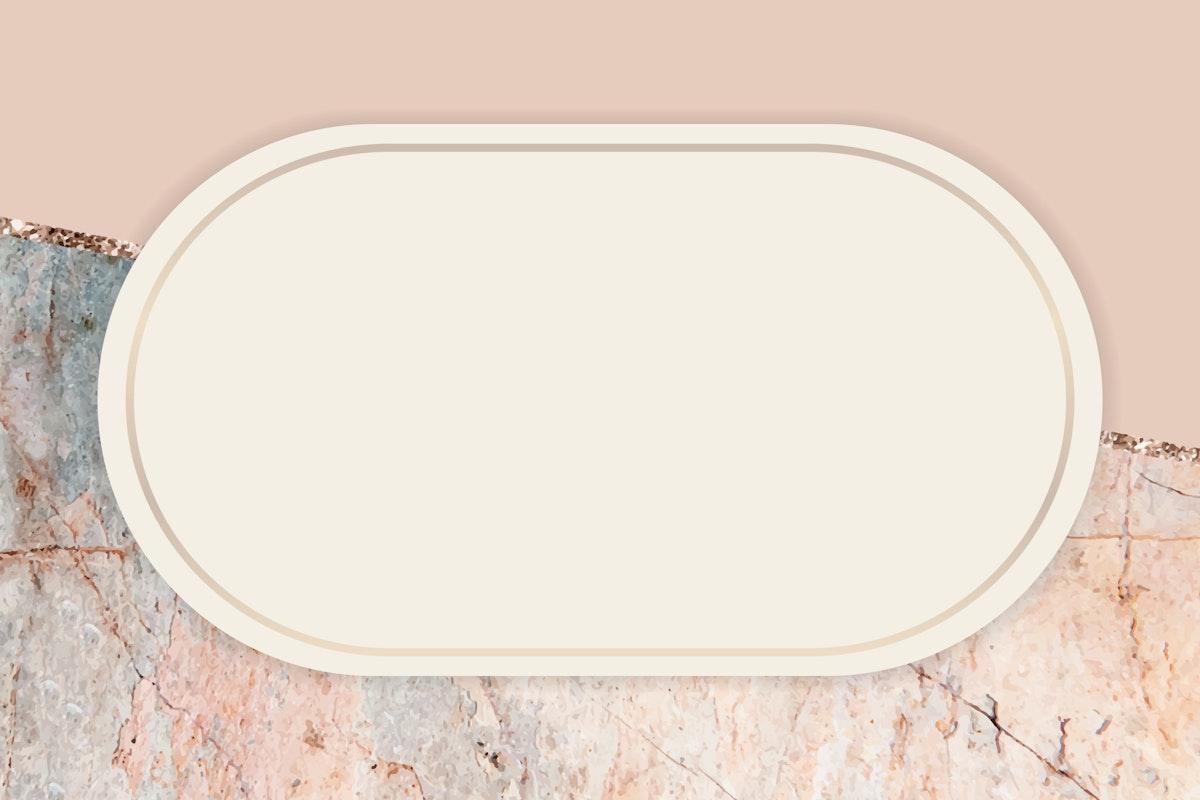 Oval frame on marbled background vector