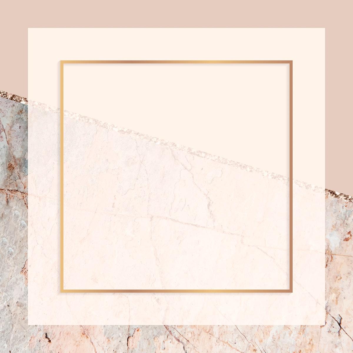 Rectangle frame on pastel orange marbled background vector