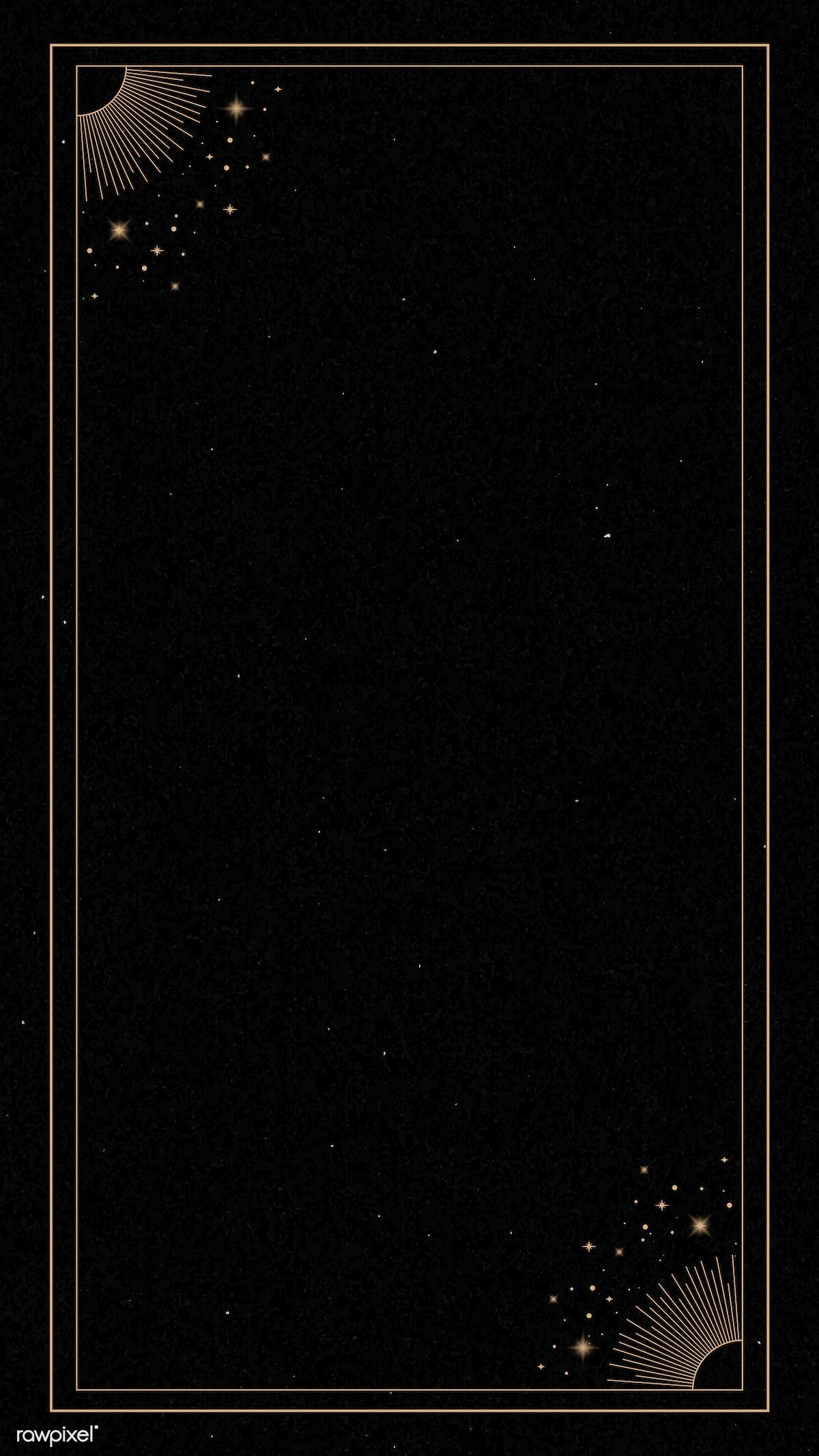 Download Premium Vector Of Mystical Gold Frame On Black Background Mobile