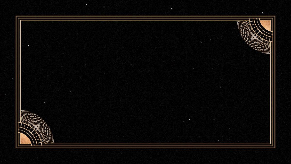 Mystical golden frame on black background vector