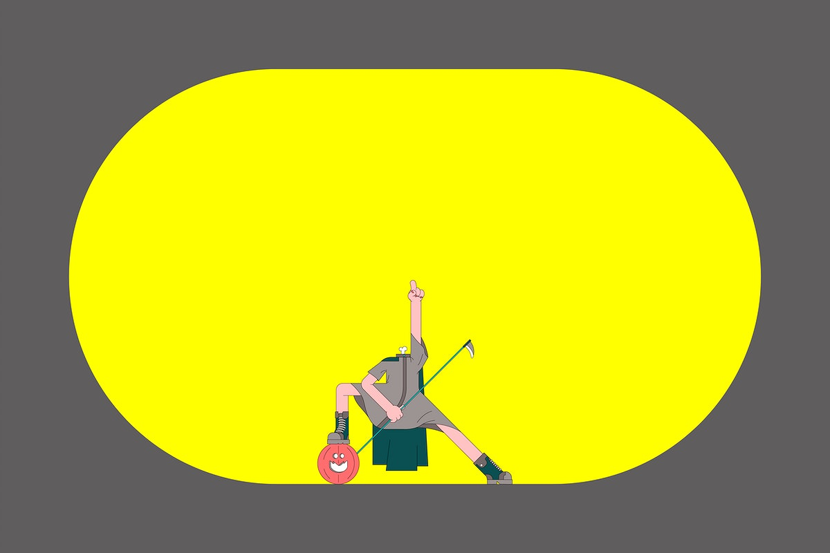 Jack O'Lantern Halloween character frame on yellow background vector