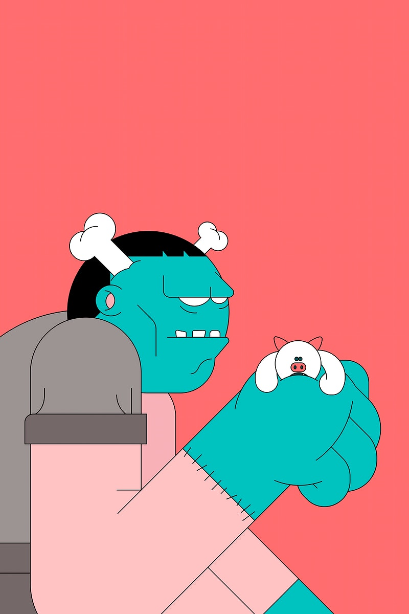 Frankenstein Halloween character on red background vector