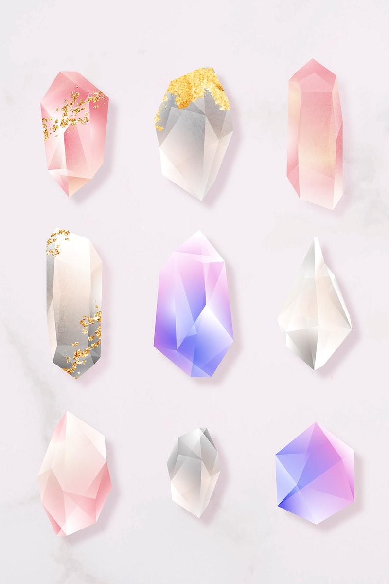 Colorful crystal set on marble background vector