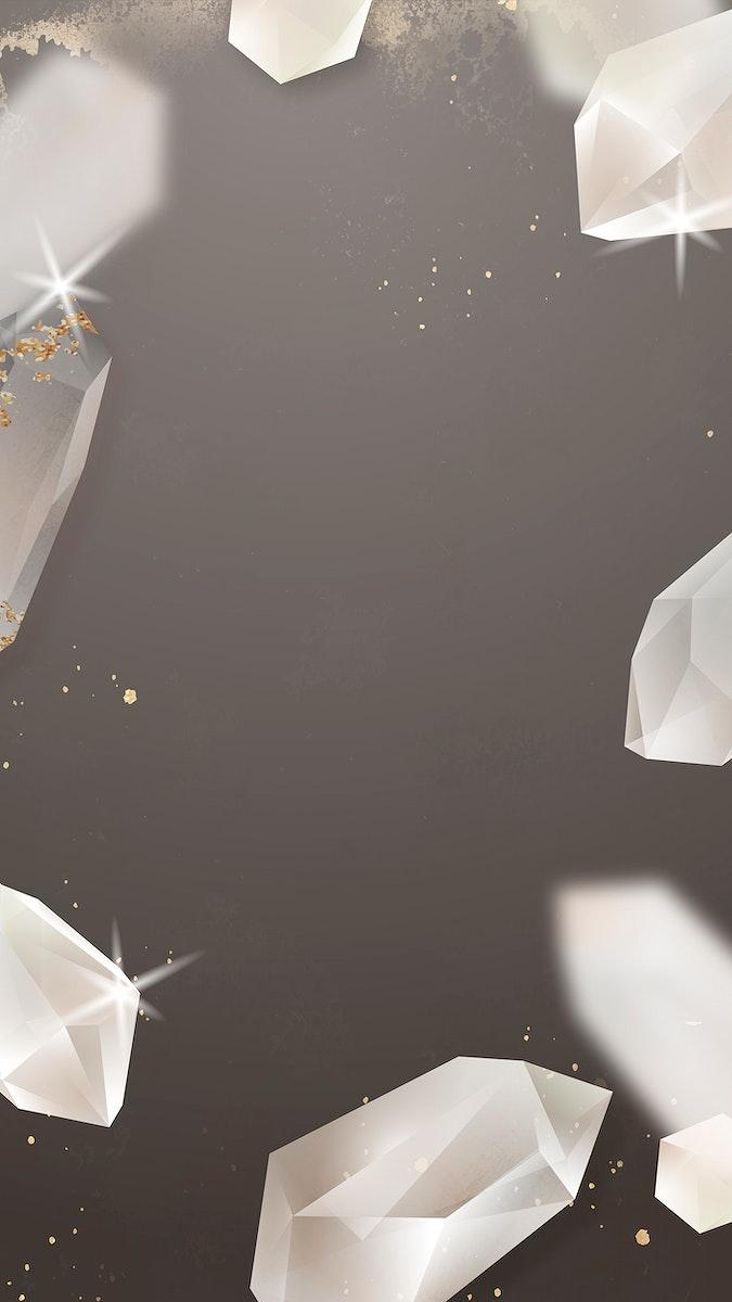 Crystal frame design mobile phone wallpaper vector