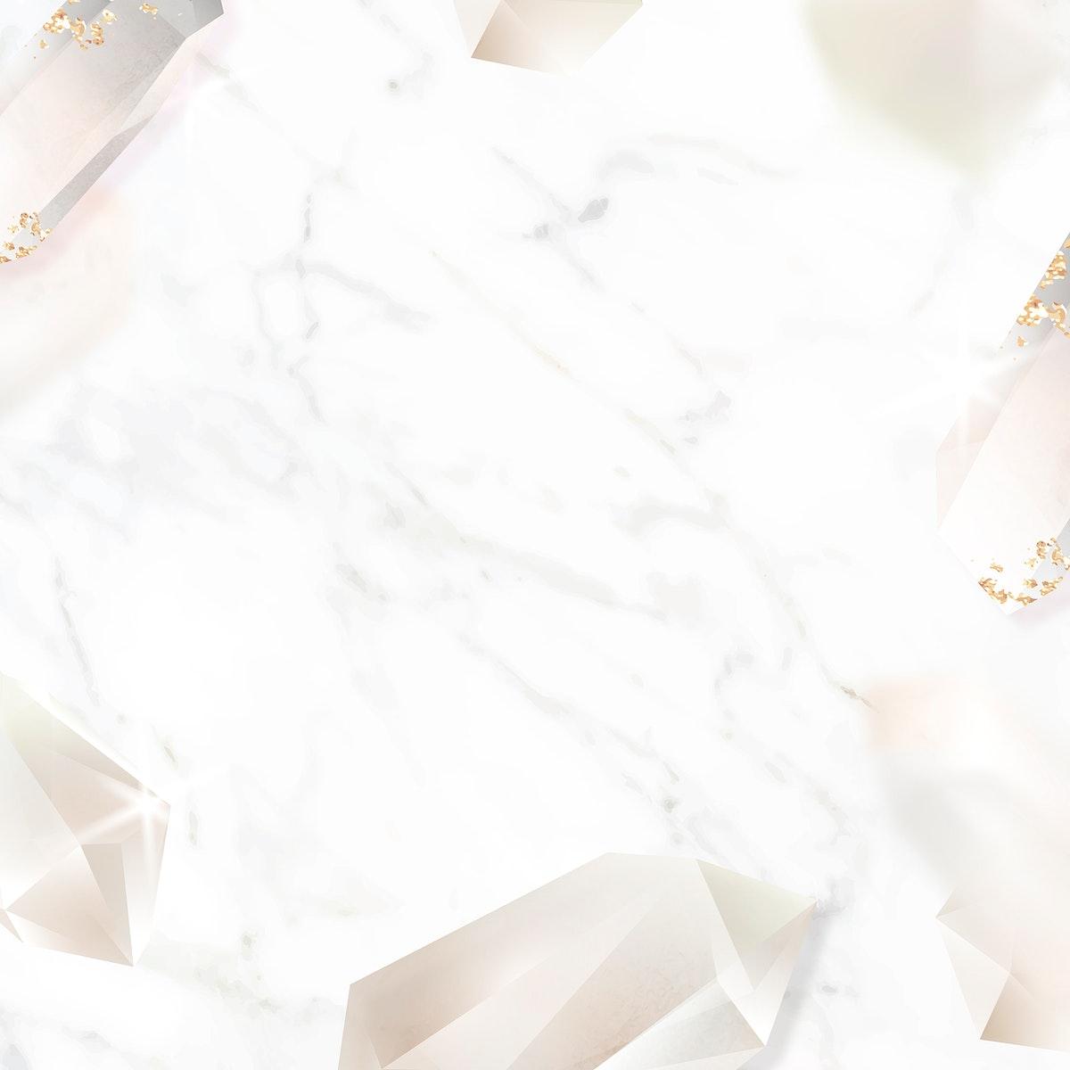 Crystal frame design on marble background vector