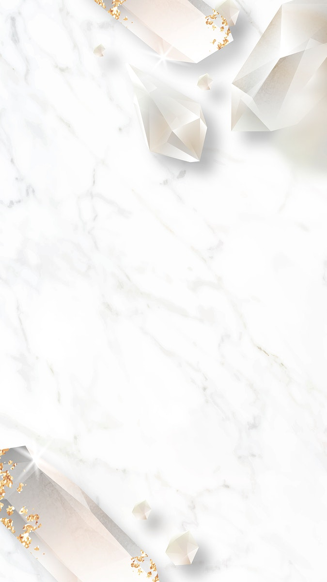 Crystal frame design on marble background mobile phone wallpaper vector