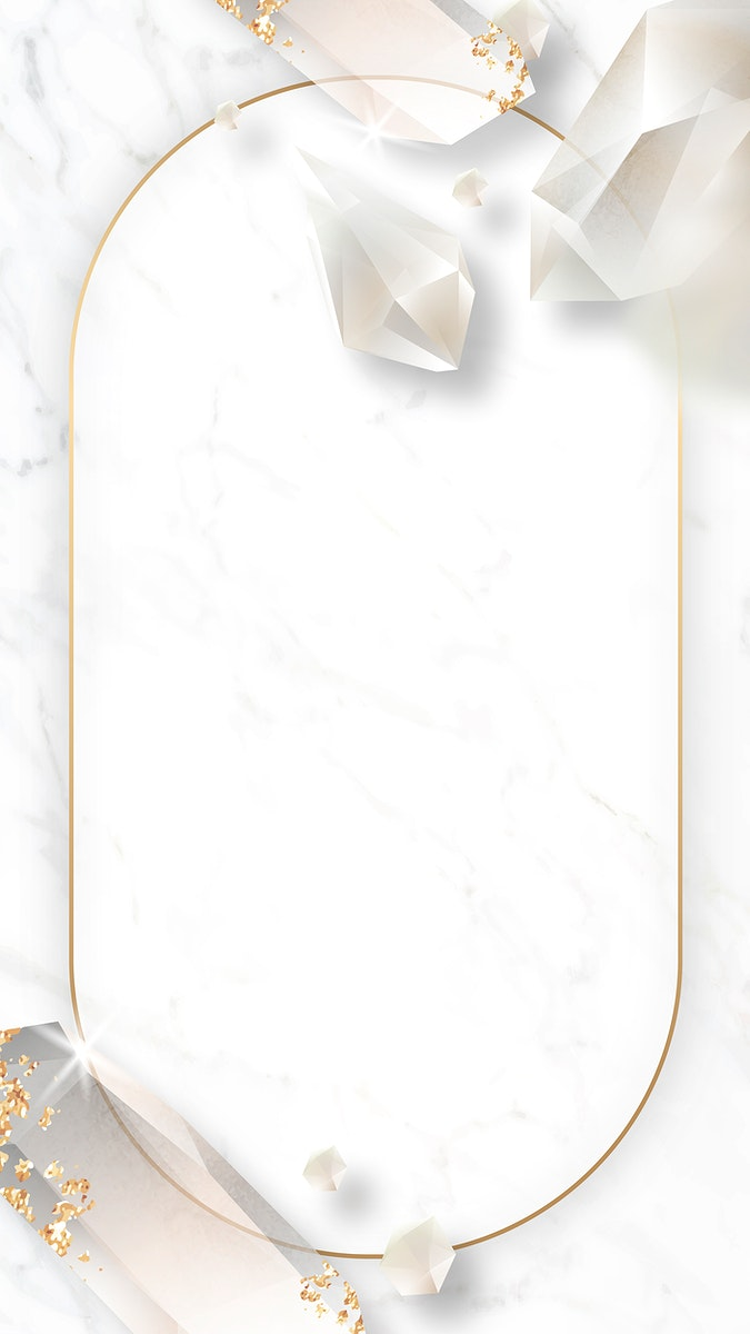 Oval crystal frame on marble background mobile phone wallpaper vector