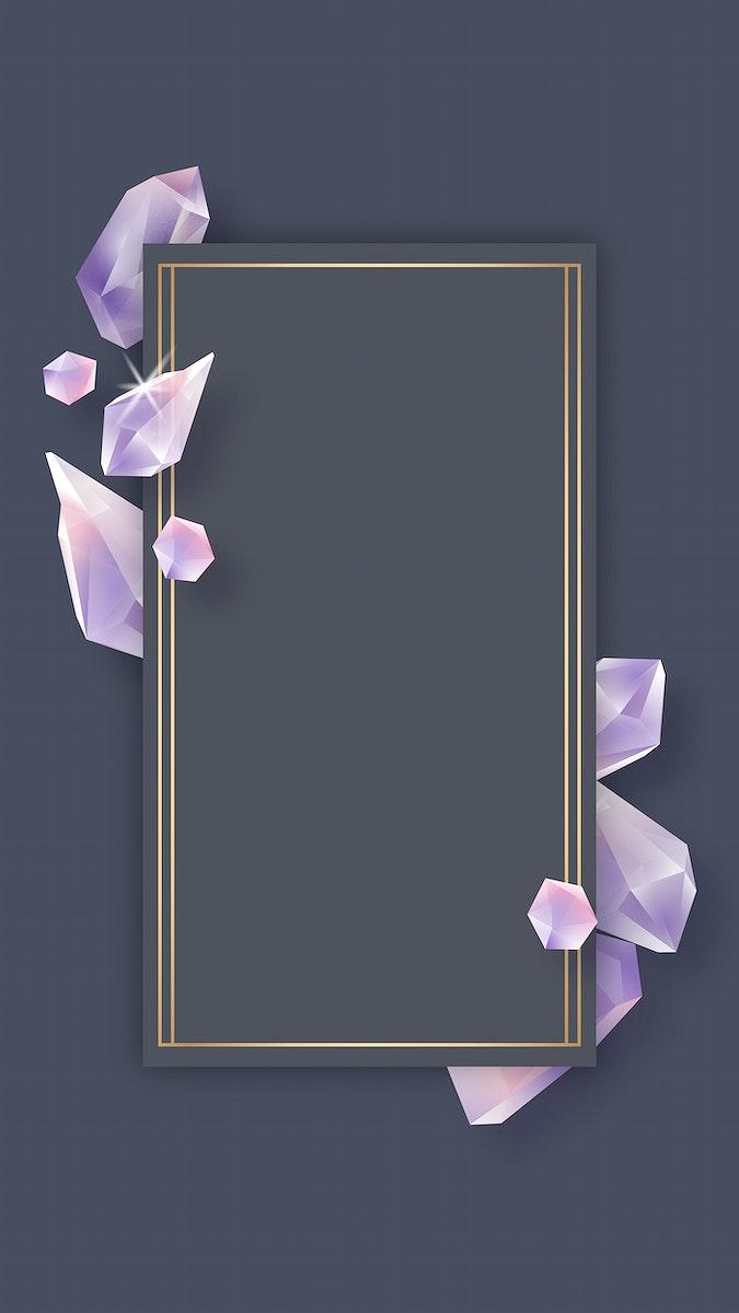 Rectangle crystal frame on black background mobile phone wallpaper vector