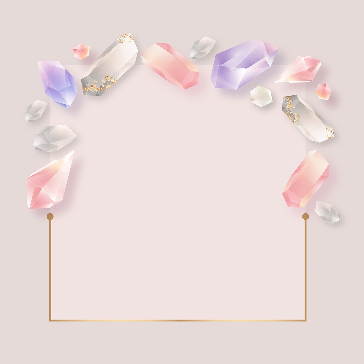 Rectangle colorful crystal frame vector