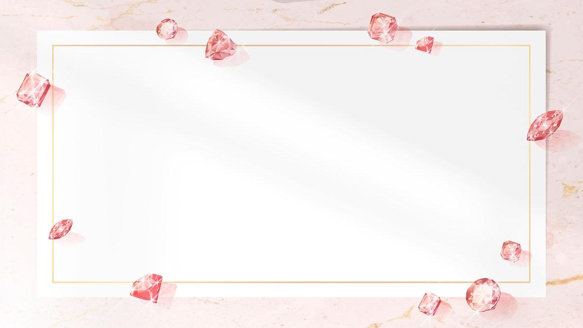 Pink crystal gem design vector