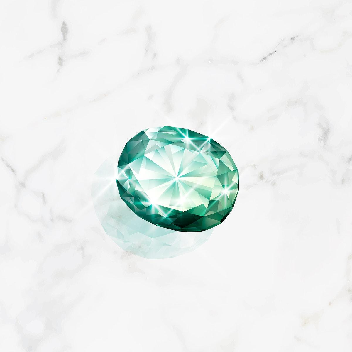 Green crystal gem design vector