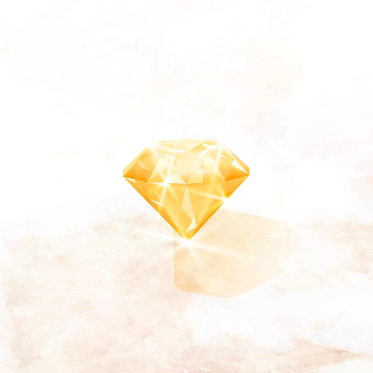 Yellow crystal gem design vector