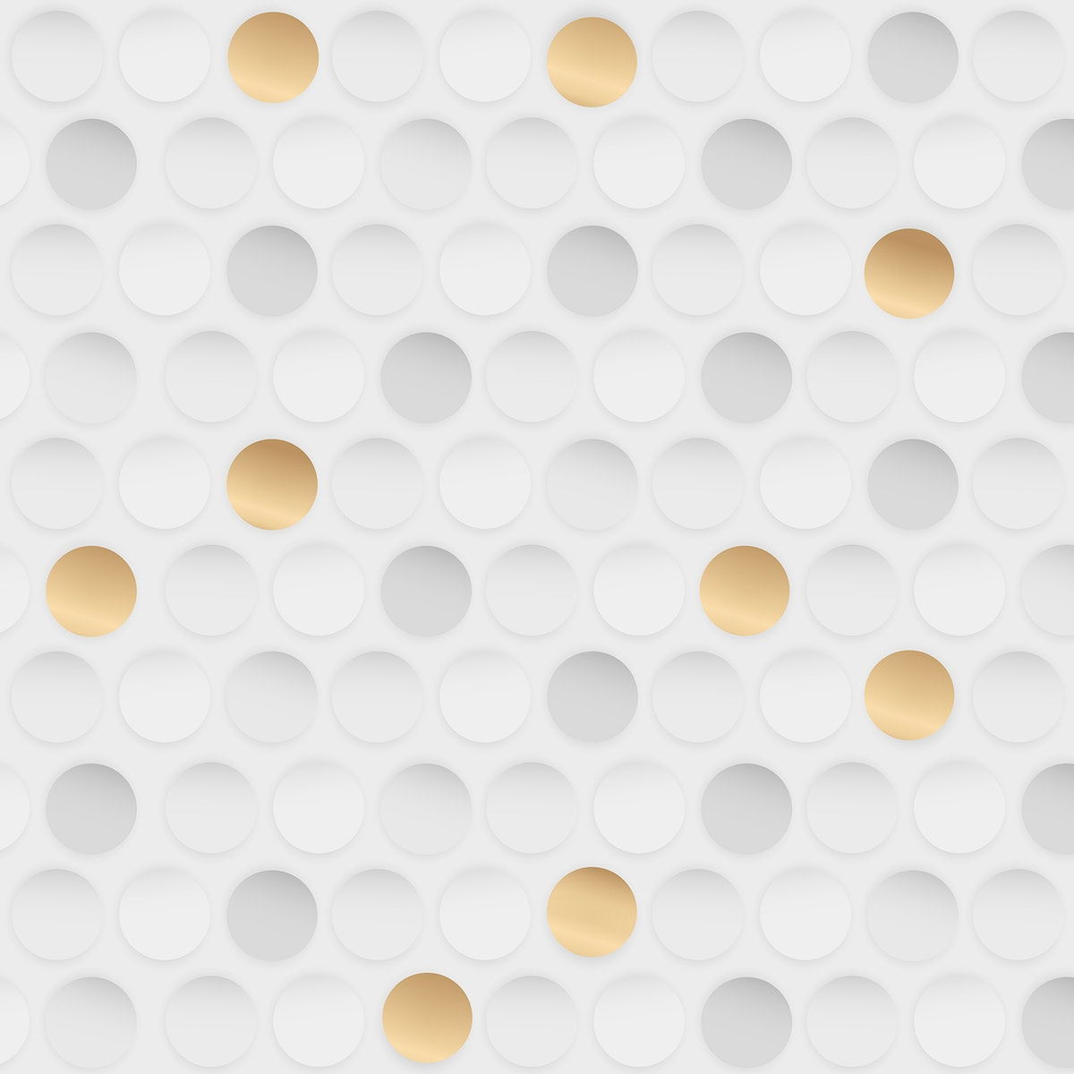 White and gold seamless round pattern vector